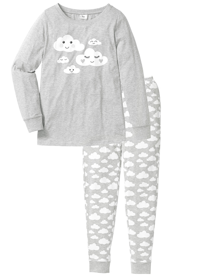 pijama-bumbac-bio-gri-deschis-marmorat-alb-imprimat
